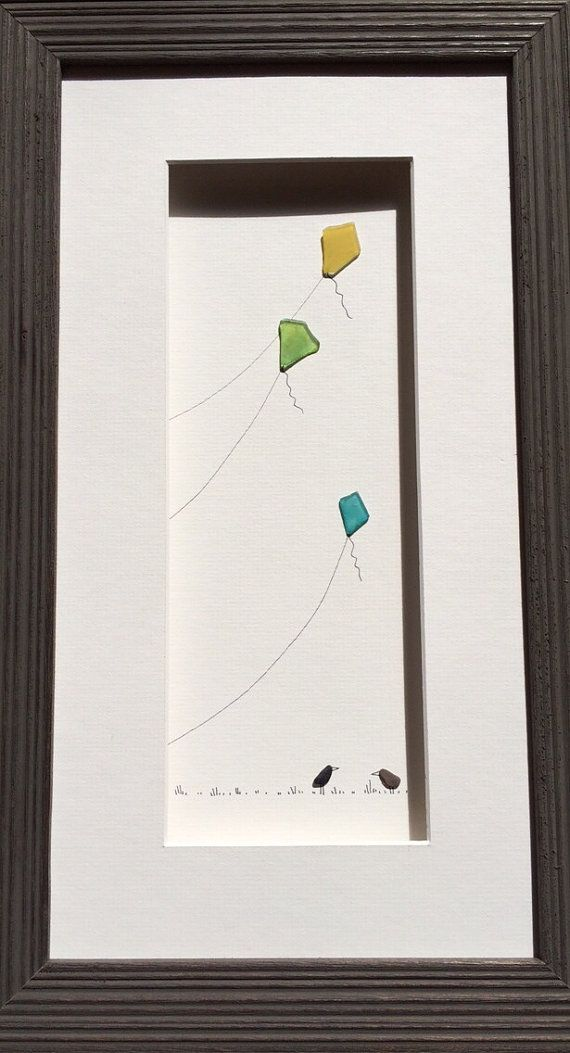 Sea glass kites by sharon nowlan by PebbleArt on Etsy