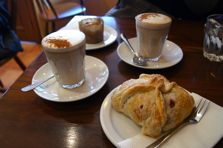 Delicious coffees and pastry from the Himalaya Bakery, Daylesford