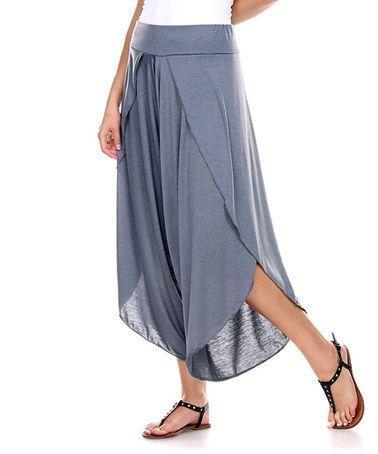 $23.99 Look at this #zulilyfind! Charcoal Tulip-Hem Gaucho Pants #zulilyfinds