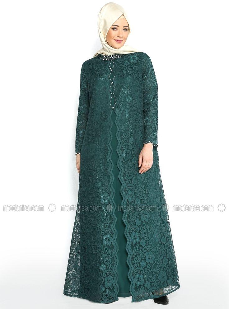 Üzeri Dantel Kaplamalı Abiye Elbise - Yeşil- Nurla Abiye