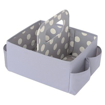 Ed Bauer Nursery Caddy Gray With White Polka Dots Diaper Caddycloth Storagebaby