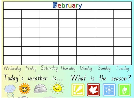 Based on a conversation Nathan had with one of the Stage 1 teachers at his school, he made a calendar for SMART Notebook.