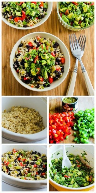 Slow Cooker Vegan Brown Rice Mexican Bowl with Black Beans, Bell Peppers, and Poblano-Avocado Salsa from Kalyn's Kitchen