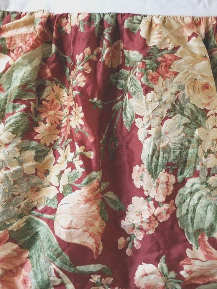 """Ralph Lauren Desert Plains Queen Bed Skirt Burgundy Floral 16"""" Drop #RalphLauren #Cottage"""