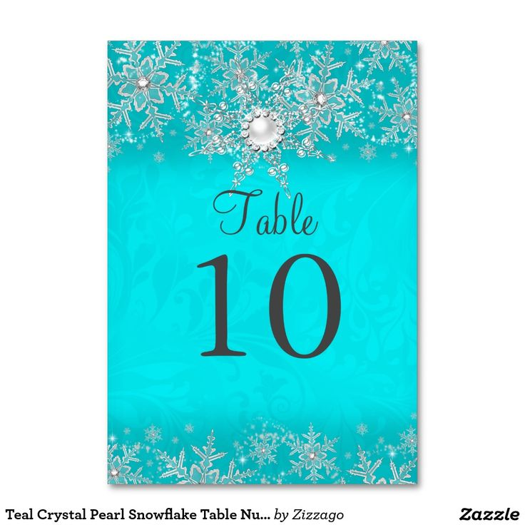 Teal Crystal Pearl Snowflake Table Number Card Table Card