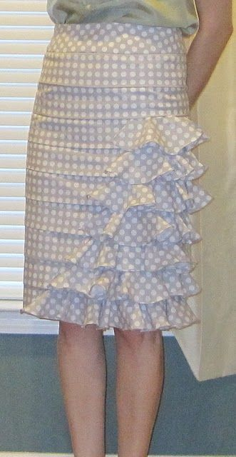 DIY anthropologie skirt. Like the color,  ruffles,  and polka dots,   --  maybe even more subdued and blended polka dots.