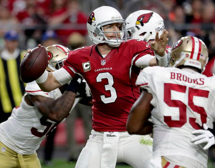 49ers vs. Cardinals:  23-20, Cardinals  -  November 13, 2016  -     Arizona Cardinals quarterback Carson Palmer (3) throws as San Francisco 49ers outside linebacker Ahmad Brooks (55) pursues during the second half of an NFL football game, Sunday, Nov. 13, 2016, in Glendale, Ariz. (AP Photo/Rick Scuteri)