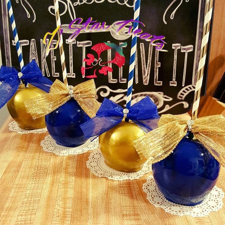 Royal blue and gold candy apples