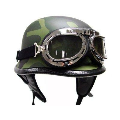 Flat Matte German Army Camo Motorcycle Cruiser Touring Scooter Half Helmet DOT with Pilot Goggles (L