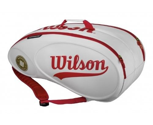 Carry your Tennis Gear in style and sophistication with the Wilson 100-Year-Tour-9-Pack-Tennis-Bag-White-and-Red @luxurytennisclub.com