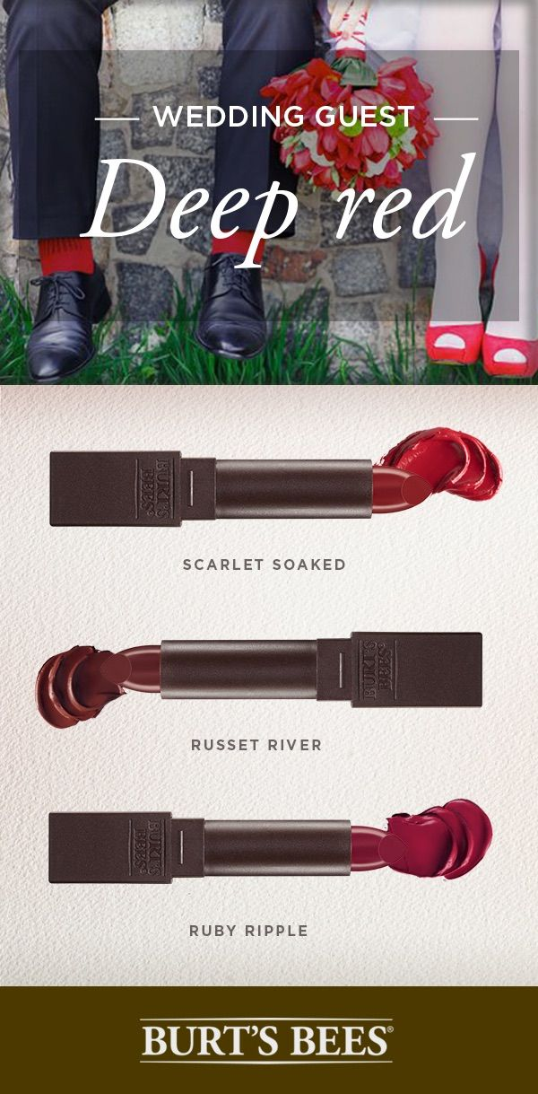 Headed to a winter wedding? Then you know the right lip is essential to complete the look. For a winter wedding, all you need is your deep red lipstick. Burt's Bees' satin lipstick holds moisture for 8 hours, and comes in 18 different shades in the full line.