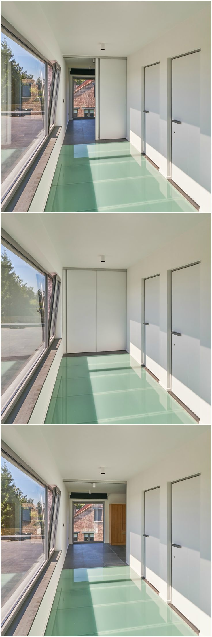 Modern interior sliding door - Modern Interior Sliding Door With 2 Panels Magnetically Attached To Each Other With A Vertical Built In Handle Everything Is Suspended To The Ceiling