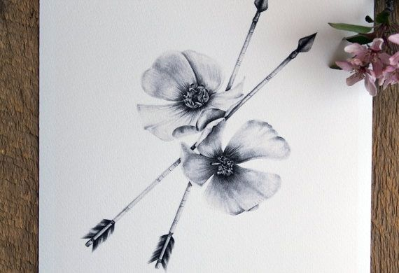 """Wild rose + Arrow = tattoo idea for me and my husband. I would add a the letter """"D"""" in it for our last name. Wild rose meaning- State flower for Iowa, where we were born and married, Arrow meaning- No matter how far in life you get pulled back, you'll eventually go forward to something great. Plus another meaning to arrows means Love and for us the love for hunting"""