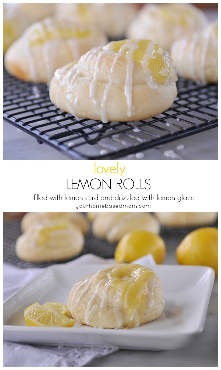 Lovely Lemon Rolls filled with lemon curd and drizzled with lemon glaze
