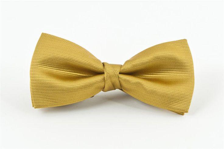 Gold Self Stripe Bow Tie