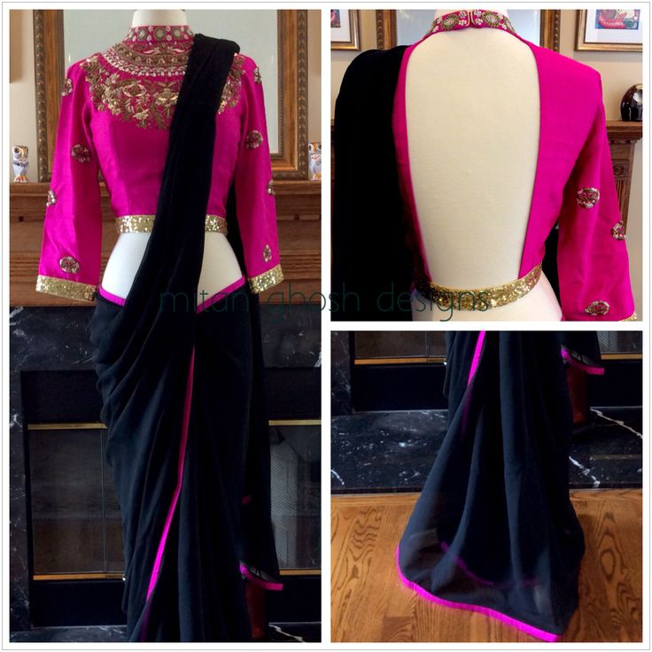 Embroidered raw silk blouse with chiffon saree ! Hot Pink and Black <3