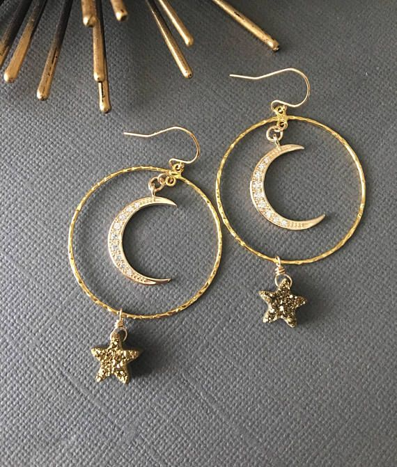 Moon And Star Earrings Star Earrings Druzy Star Dangling