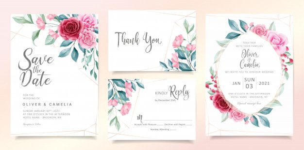 Modern Floral Wedding Invitation Card Template Set With Elegant