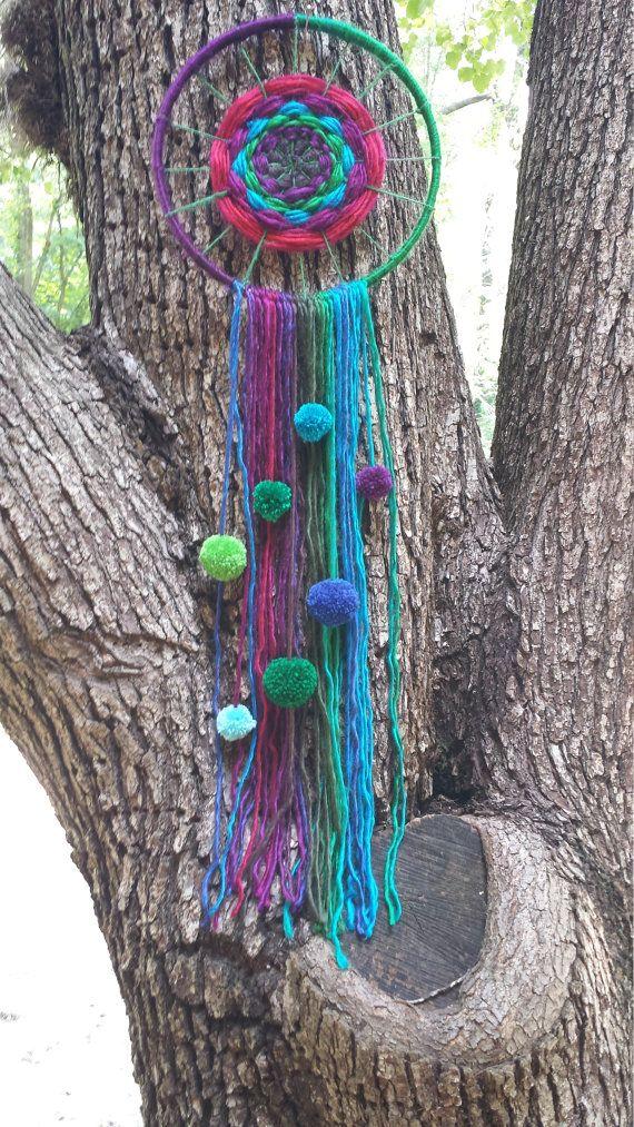 Dreamcatcher Colorful Rainbow Yarn Handmade Wall by MindyandMike