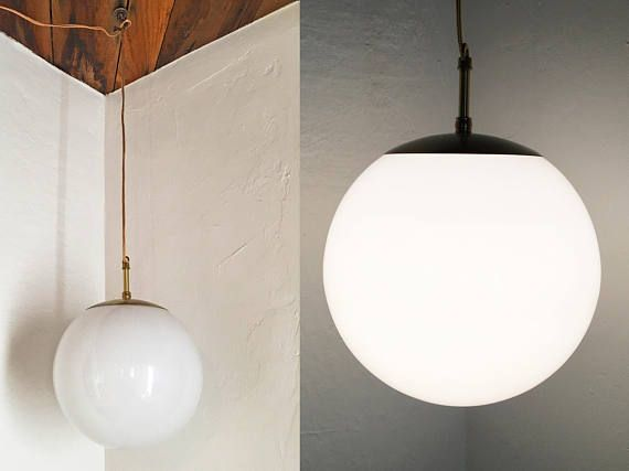 Vintage Mid Century Modern Globe Pendant Light  White Glass