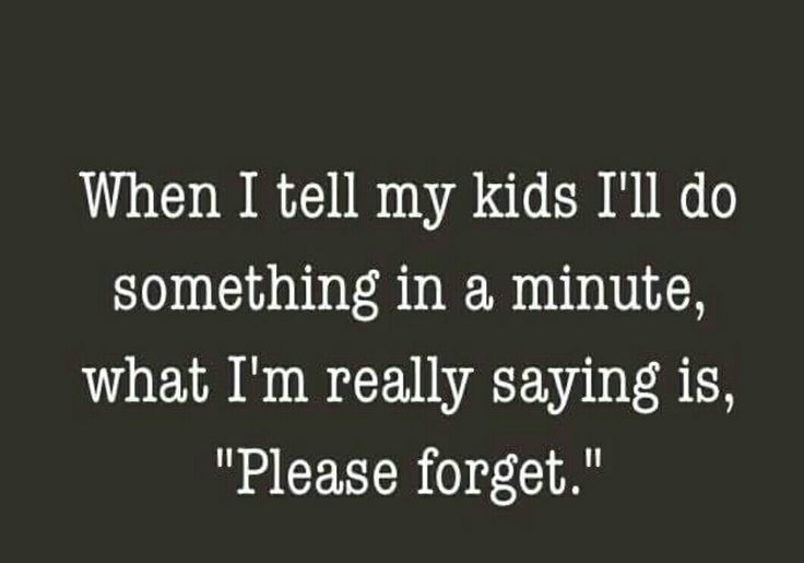 Funny mom quotes. When I tell my kids I'll do something in a minute what I'm really saying is please forget. Lmao