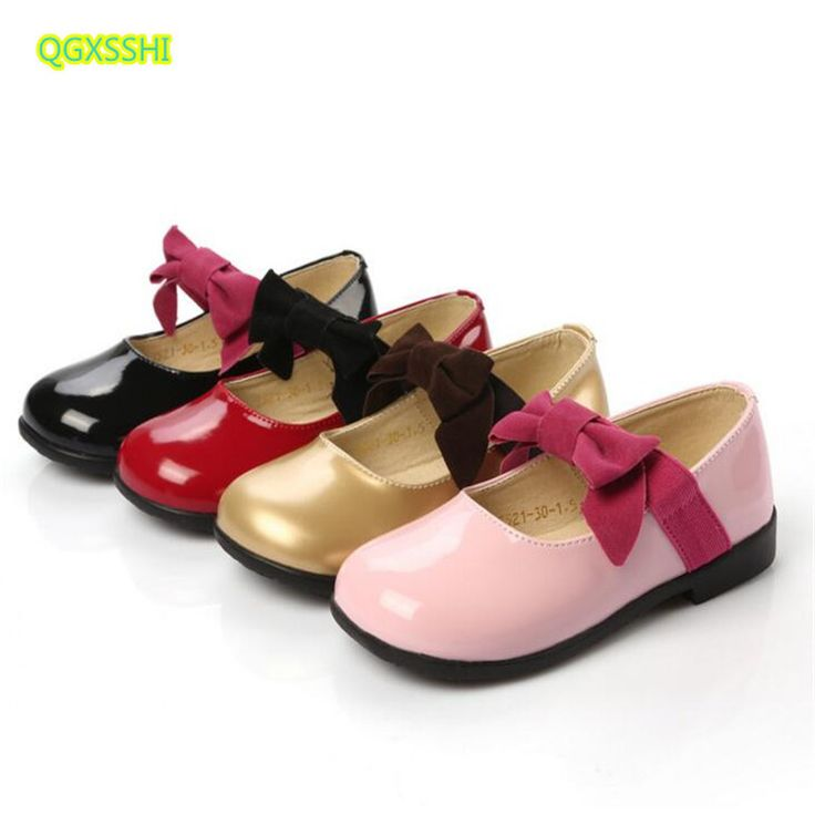 QGXSSHI flat girls leather shoes 2017 spring summer autumn fashion princess dance shoes kids bow child Student performance shoes #Affiliate