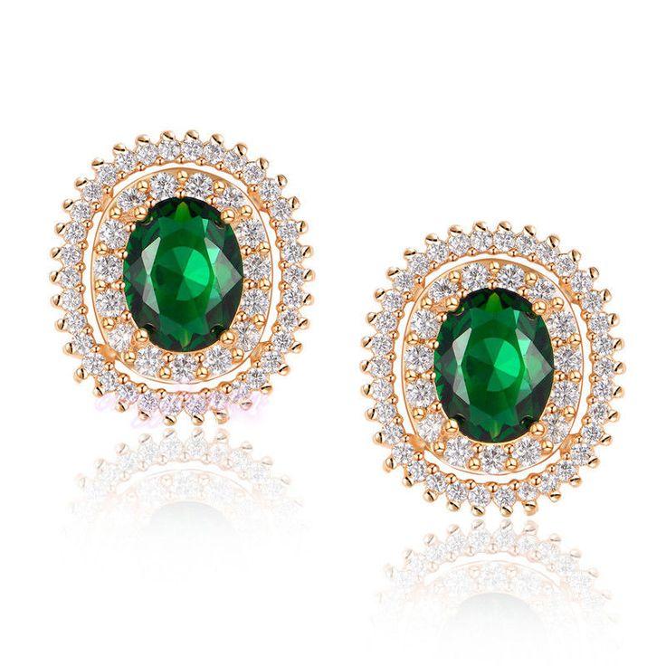 Wedding Oval Royal Muti-Color Cubic Zirconia Earrings Studs Fashion Jewelry Gift