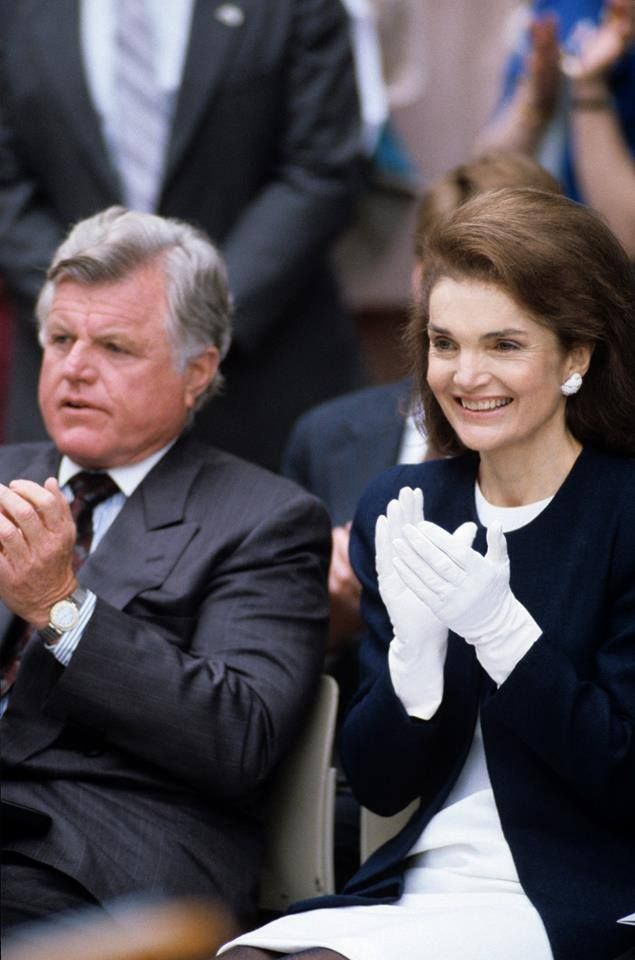 At the 1990 Profile in Courage Awards. She wore her white gloves right to the end of her life, she was a lady, a model of class and majesty. Oh how I wish women today would polish it up and wear white gloves, oh what a pretty world that would be.