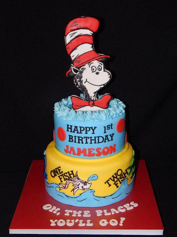 Dr Seuss Inspried Cat In The Hat Cake Topper Set Hat Cake Happy 1st Birthdays Birthday Celebration
