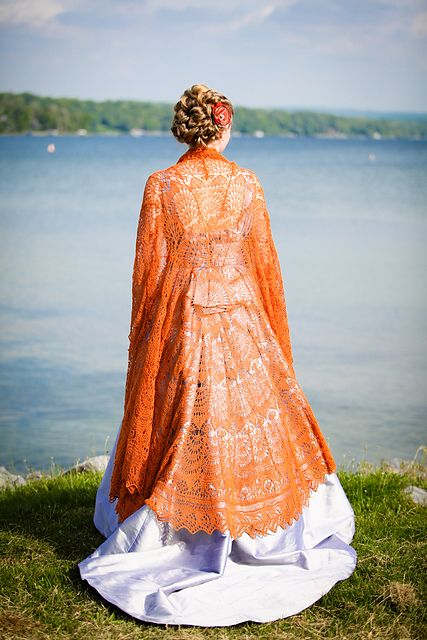 gorgeous, gorgeous knitting. the most spectacular lace wedding shawl.