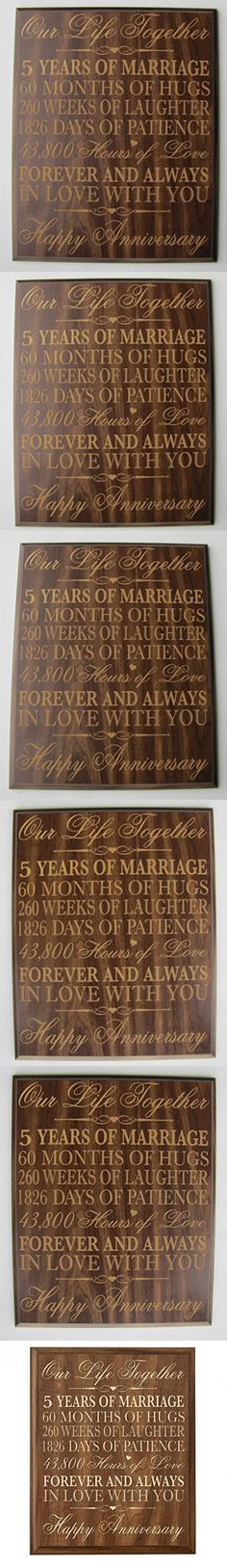 "5th Wedding Anniversary Wall Plaque Gifts for Couple, 5th Anniversary Gifts for Her,5th Wedding Anniversary Gifts for Him 12 W X 15"" H Wall Plaque By Dayspring Milestones Walnut"