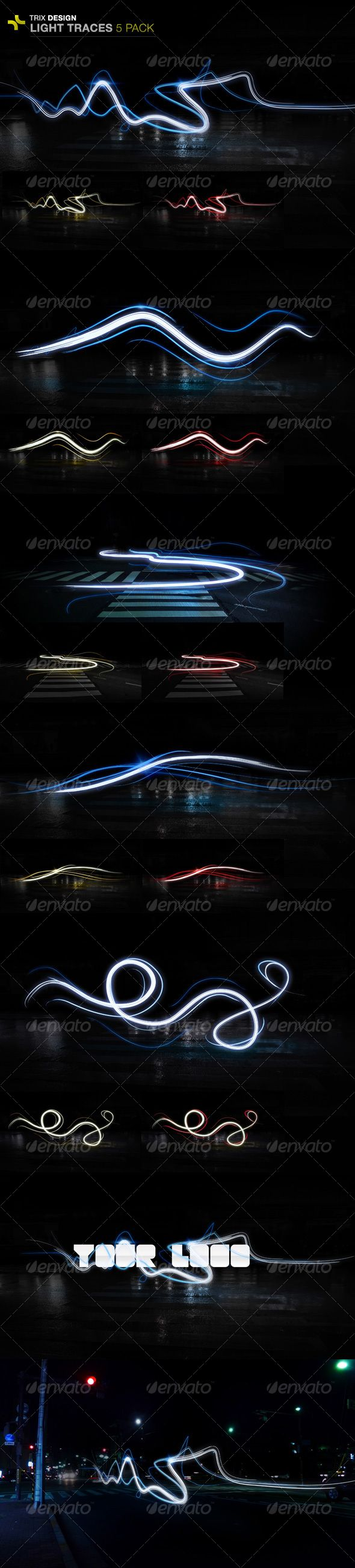 5 unique and fully flexible light trails with 3 different colour variations per trail and 2 examples of how these light trails can be added to your graphics.