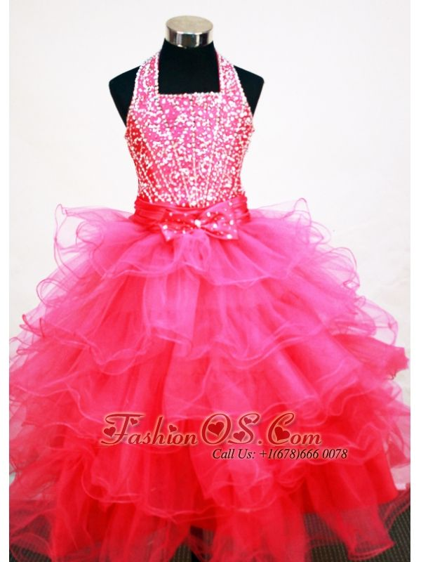 Popular Hot Pink Halter Neckline Beaded and Ruffled Layers Decorate Flower Girl Pageant Dress- $159.99