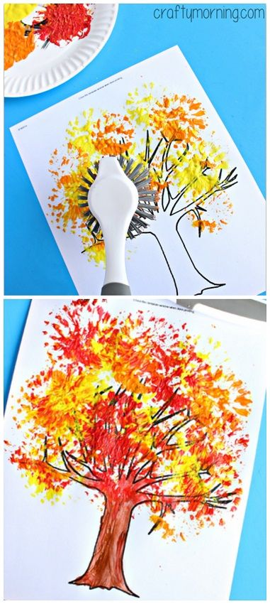 Knutselen, tekenen en schilderen voor de herfst. Fall Tree Craft Using a Dish Brush #Fall craft for kids - Perfect for toddlers and preschoolers! | CraftyMorning.com