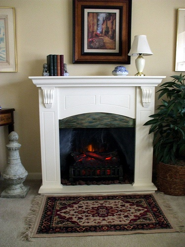 This is a beautifully installed #Duraflame electric #fireplace #log set.