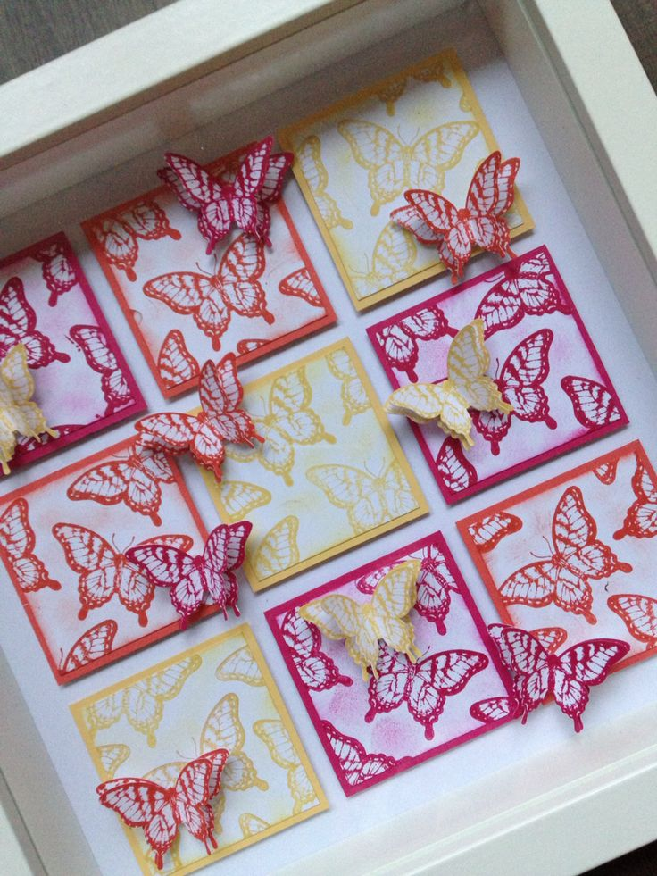 Hand-stamped and punched butterfly's with Papillon Potpourri-stampset coördinated with the Elegantly Butterfly-punch from Stampin'up.
