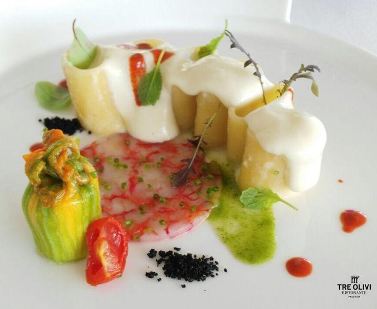 Pasta con patate, gamberi rossi e fiori di zucca || #treolivi #paestum #ricetta #pasta #patate