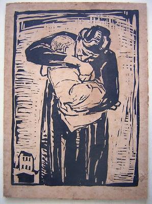 Karl Friedrich Lippmann: Woodcut Mother & Child 1920's / German Expressionism
