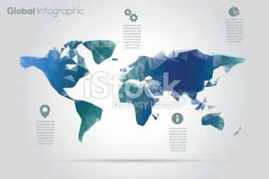 Geometric world map infographic Royalty Free Stock Vector Art Illustration