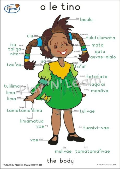 Parts of the body - Samoan Language - found using my friend GOOGLE :D