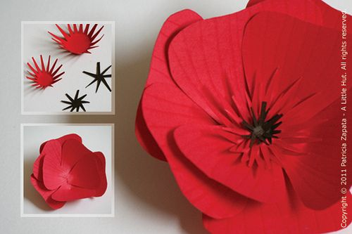Paper poppy tutorial - mine turned out not so nice.  Will try with different weights of paper