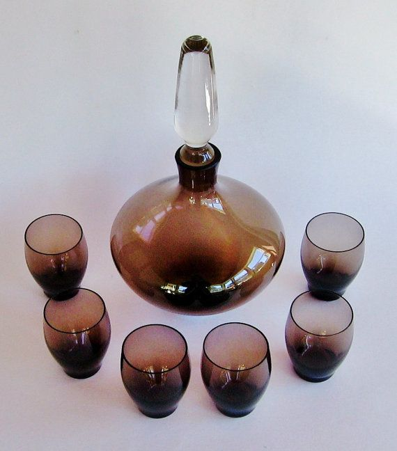 Danish Modern Blenko Glass Decanter Set - Mid Century Modern Blenko Decanter, Smoked Glass Liqueur Decanter, Blenko Liquor Glasses on Etsy, $142.51