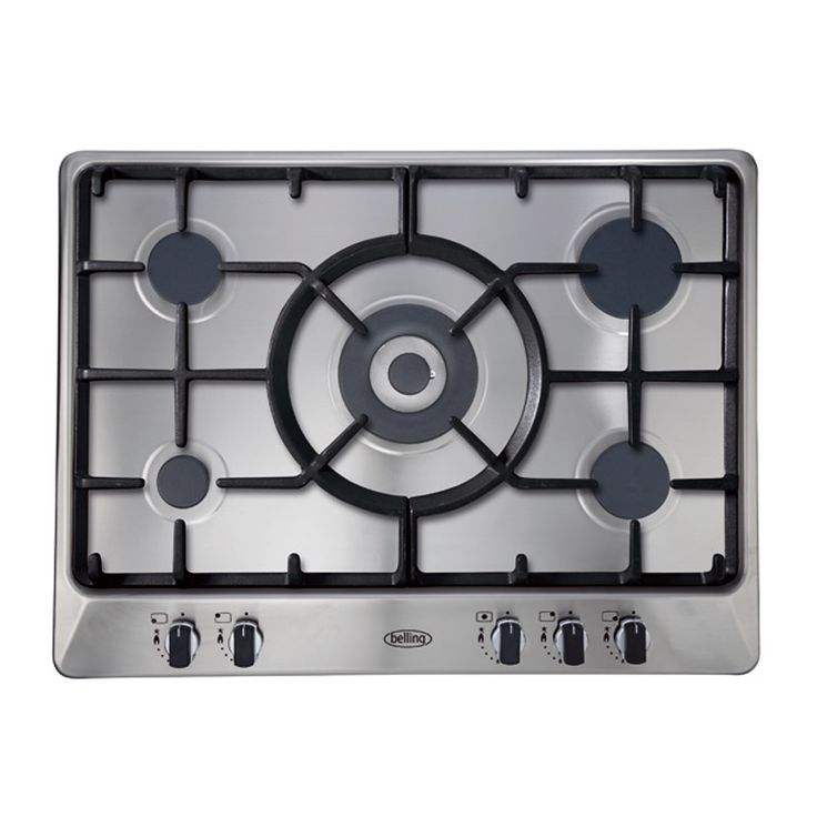 70cm gas hob with cast iron trivets & LPG kit - stainless steel #Belling #UKmade #madeinBritian #British #cooktop #gas