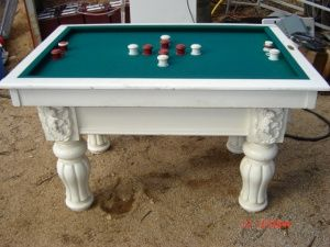 bumper pool table for a man cave ... perhaps a darker wood color ...