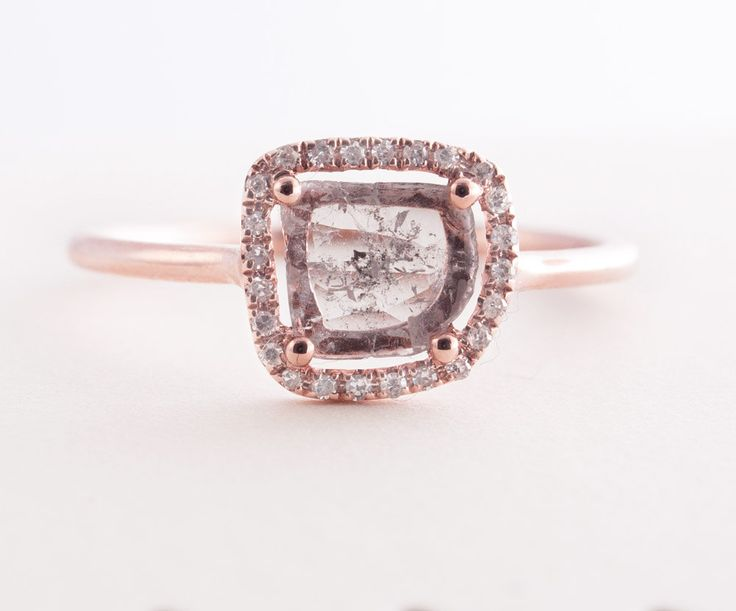 Diamond Slice  Ring Rose 14K Gold Ring Engagement by Tulajewelry, $650.00