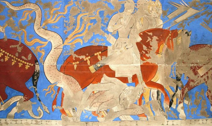 Rustam cycle, Sogdian mural from Panjakent, 6th-8th Centuries, reconstruction