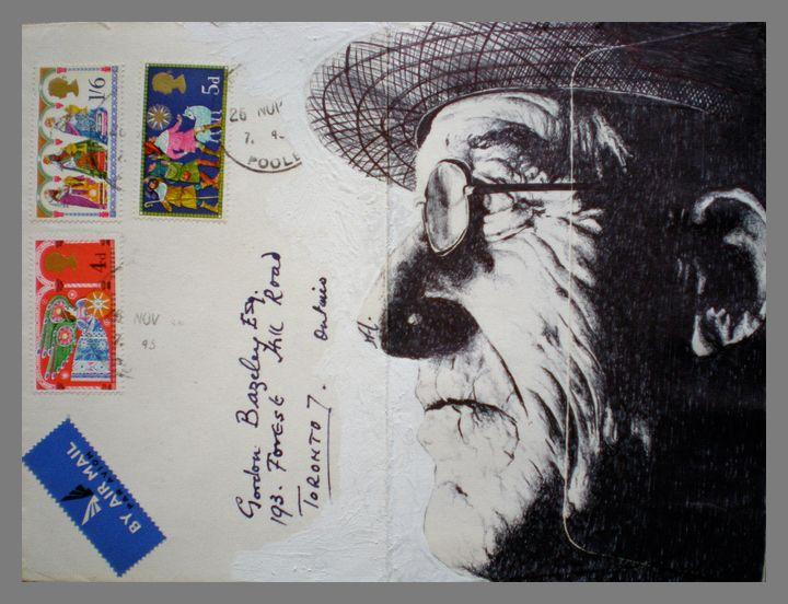 Portrait on Envelope by Mark Powell. Created using Bic Biro pen. Using mundane materials to make something stunning.