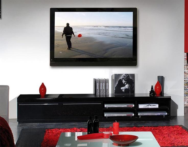 Black high gloss tv hifi unit or tv stand media units - High gloss black living room furniture ...