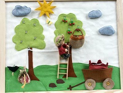 Cute cherry picking quiet book page.