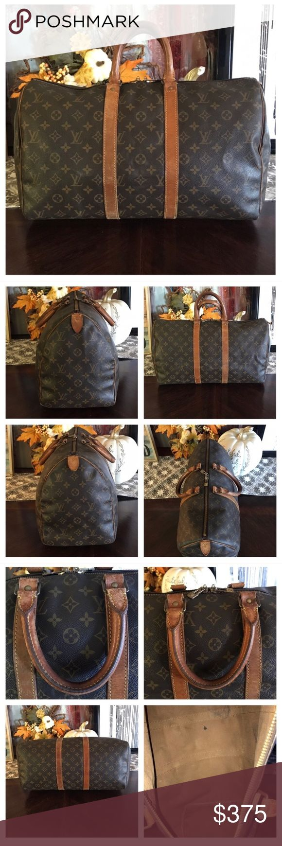 """Authentic Louis Vuitton Keepall 45 100% Authentic Louis Vuitton Keepall 45.  Monogram canvas has no scratches or tears.  Piping is rubbed but not exposed.  See pictures.  Handles have signs of use but no cracks.   Stitching is good.   Zippers work good.   Hardware has tarnish.  Pull tabs have cracks.   Inside has stains.   See pics.  W17.7xH10.6xD7.87"""". I do not trade. Louis Vuitton Bags Travel Bags"""